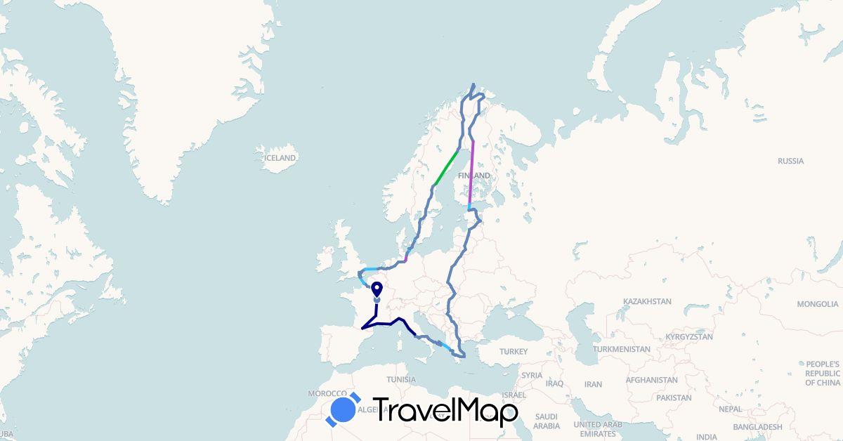 TravelMap itinerary: driving, bus, cycling, train, boat in Germany, Denmark, Estonia, Finland, France, United Kingdom, Greece, Hungary, Italy, Lithuania, Latvia, Macedonia, Netherlands, Norway, Poland, Serbia, Sweden, Slovakia (Europe)